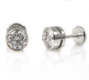 עגילי סטד יהלומים דגם סול - זהב לבן