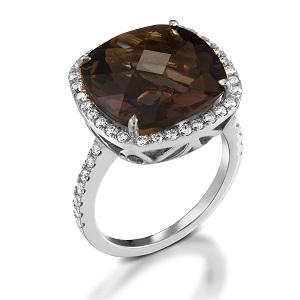 טבעת סמוקי טופז ויהלומים דגם שרה זהב לבן