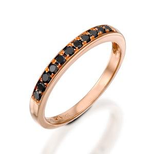 טבעת שורה יהלומים שחורים זהב ורוד דגם פולי