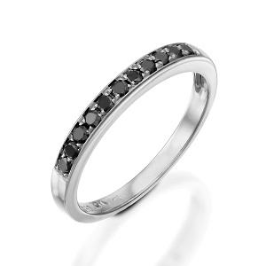 טבעת שורה יהלומים שחורים זהב לבן דגם פולי