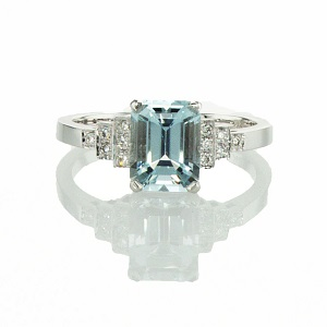 טבעת אקווה מרין ויהלומים דגם נסיכת סאסקס