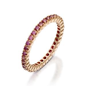 טבעת נצחית טניס משובצת ספיר ורוד - דגם רוז
