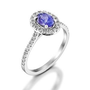 טבעת טנזנייט ויהלומים דגם מורן