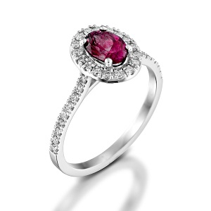 טבעת גרנט ויהלומים דגם מורן
