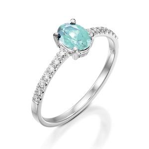 טבעת אקווה מרין ויהלומים דגם עדי