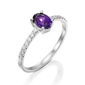 טבעת אמטיסט ויהלומים דגם עדי