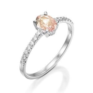 טבעת מורגנייט ויהלומים דגם עדי