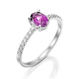 טבעת ספיר ורוד ויהלומים דגם עדי