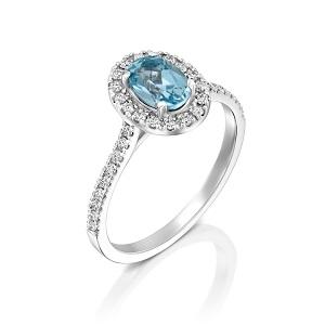טבעת אקווה מרין ויהלומים דגם מורן