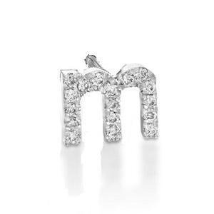 עגיל פירסינג באות M - אותיות באנגלית יהלומים