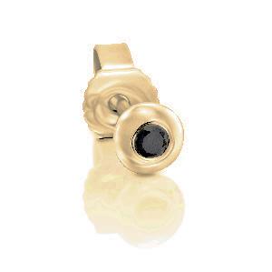 עגיל סטד פירסינג יהלום שחור בכוס זהב צהוב