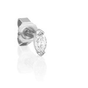 עגיל סטד פירסינג יהלום מרקיזה בזהב לבן