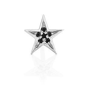 עגיל פירסינג כוכב יהלומים שחורים בזהב לבן