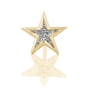 עגיל פירסינג כוכב יהלומים בזהב צהוב