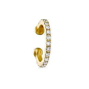 עגיל פירסינג קליפ ללא חור הליקס יהלומים - זהב צהוב