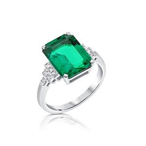 טבעת אמרלד ויהלומים דגם נסיכת סאסקס
