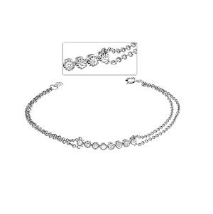 צמיד שרשרת יהלומים דגם זהב לבן