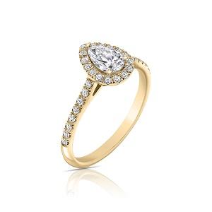 טבעת הילה יהלום טיפה ויהלומים זהב צהוב דגם אסנת