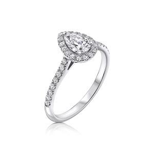 טבעת הילה יהלום טיפה ויהלומים זהב לבן דגם אסנת