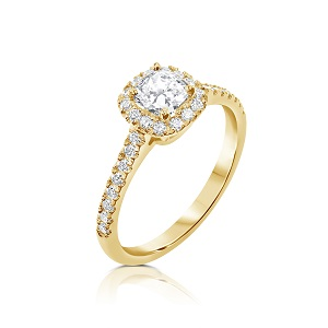 טבעת יהלום קושן ויהלומים זהב צהוב דגם מאי