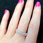 טבעת יהלומים שתי שורות זהב לבן