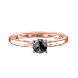 טבעת יהלום שחור סוליטר זהב ורוד דגם תמר 1.00 קרט