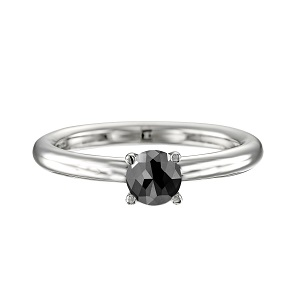 טבעת יהלום שחור סוליטר זהב לבן דגם תמר 1.00 קרט