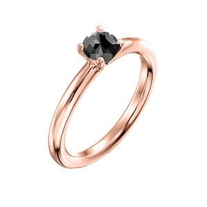 טבעת יהלום שחור סוליטר זהב ורוד דגם תמר 0.60 קרט