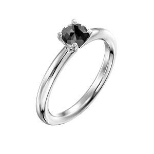 טבעת יהלום שחור סוליטר זהב לבן דגם תמר 0.60 קרט