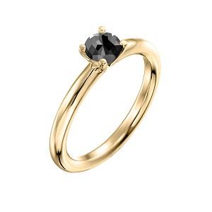 טבעת יהלום שחור סוליטר זהב צהוב דגם תמר 0.60 קרט