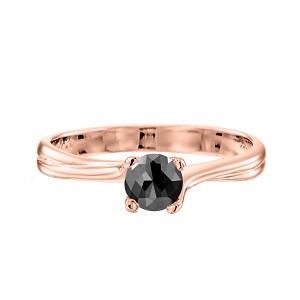 טבעת יהלום שחור סוליטר זהב ורוד דגם אדריאנה 1.00 קרט