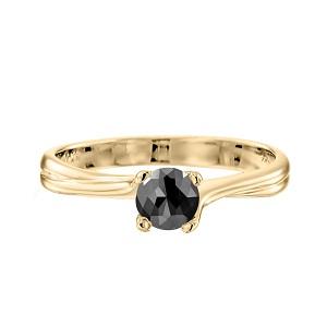 טבעת יהלום שחור סוליטר זהב צהוב דגם אדריאנה 1.00 קרט