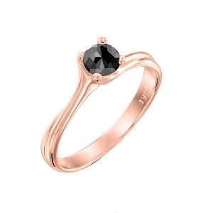 טבעת יהלום שחור סוליטר זהב ורוד דגם אדריאנה 0.60 קרט