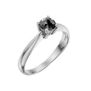 טבעת יהלום שחור סוליטר זהב לבן דגם רויאל 0.60 קרט