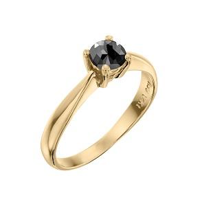 טבעת יהלום שחור סוליטר זהב צהוב דגם רויאל 0.60 קרט