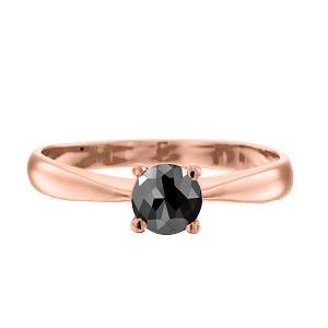 טבעת יהלום שחור סוליטר זהב ורוד דגם רויאל 1.00 קרט