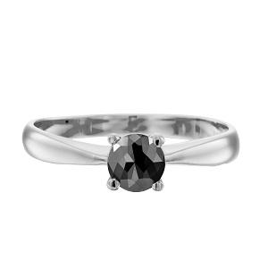 טבעת יהלום שחור סוליטר זהב לבן דגם רויאל 1.00 קרט