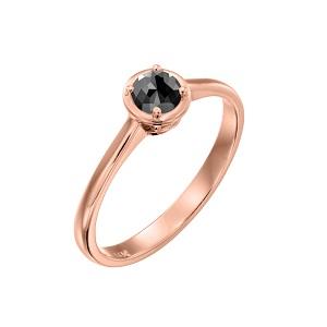 טבעת יהלום שחור סוליטר זהב ורוד דגם אריאדנה 0.60 קרט