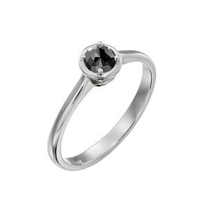 טבעת יהלום שחור סוליטר זהב לבן דגם אריאדנה 0.60 קרט