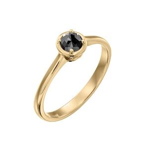 טבעת יהלום שחור סוליטר זהב צהוב דגם אריאדנה 0.60 קרט