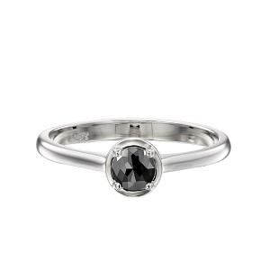 טבעת יהלום שחור סוליטר זהב לבן דגם אריאדנה 1.00 קרט