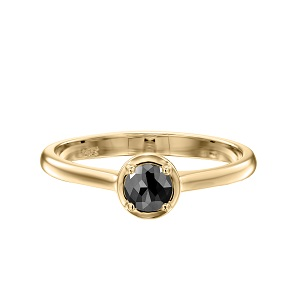 טבעת יהלום שחור סוליטר זהב צהוב דגם אריאדנה 1.00 קרט