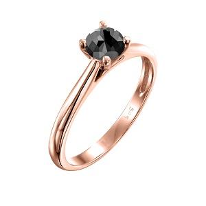 טבעת יהלום שחור סוליטר קתדרלה בזהב ורוד 0.60 קרט