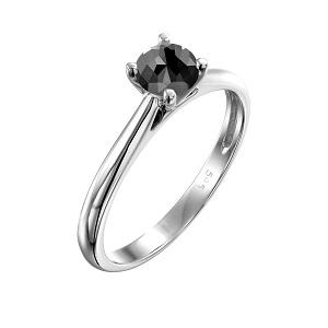 טבעת יהלום שחור סוליטר קתדרלה בזהב לבן 0.60 קרט