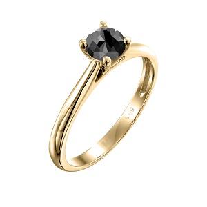 טבעת יהלום שחור סוליטר קתדרלה בזהב צהוב 0.60 קרט