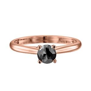 טבעת יהלום שחור סוליטר קתדרלה בזהב ורוד 1.00 קרט