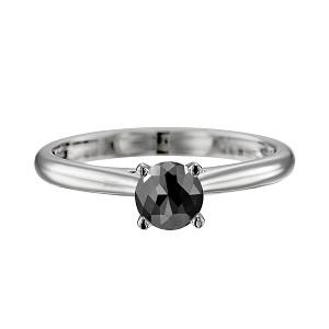 טבעת יהלום שחור סוליטר קתדרלה בזהב לבן 1.00 קרט