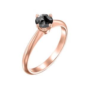 טבעת יהלום שחור סוליטר בזהב ורוד 0.60 קרט דגם קורה