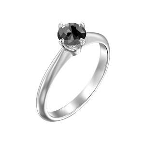 טבעת יהלום שחור סוליטר בזהב לבן 0.60 קרט דגם קורה