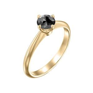 טבעת יהלום שחור סוליטר בזהב צהוב 0.60 קרט דגם קורה